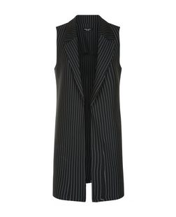 Petite Navy Pinstripe Sleeveless Blazer  | New Look