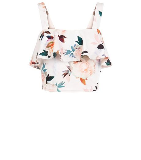 Petite White Floral Print Frill Crop Top | New Look