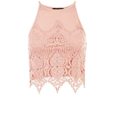 Mid Pink Guipure Lace Crop Top  | New Look