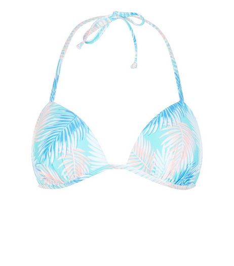 Blue Palm Leaf PRint Bikini Top | New Look