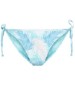 Blue Palm Leaf Print Bikini Bottoms | New Look