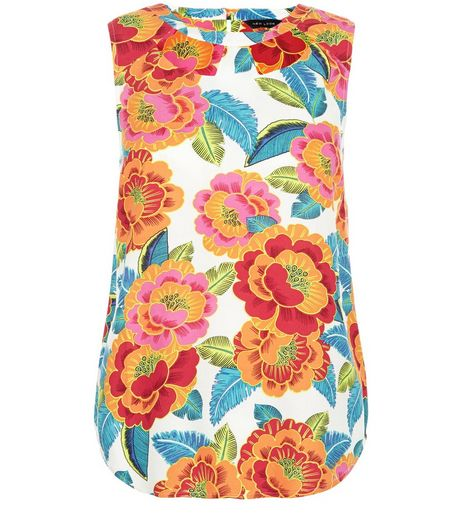 White Floral Print Sleeveless Top  | New Look