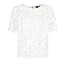 White Lace Short Sleeve T-Shirt | New Look