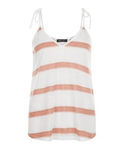 Pink Stripe Tie Strap Cami  | New Look