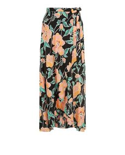Black Floral Print Wrap Front Maxi Skirt | New Look
