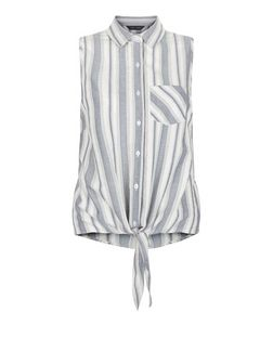 Blue Stripe Single Pock Tie Front Shirt  | New Look