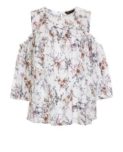 White Floral Print Cold Shoulder Smock Top  | New Look