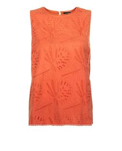 Bright Orange Laser Cut Out Lace Sleeveless Top | New Look