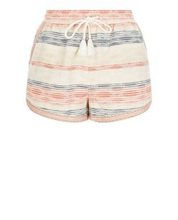 White Jacquard Stripe Runner Shorts  | New Look