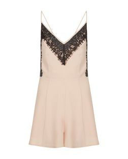 Pink Lace Trim Playsuit  | New Look