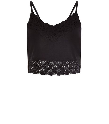Black Lace Trim Bralet Cami  | New Look