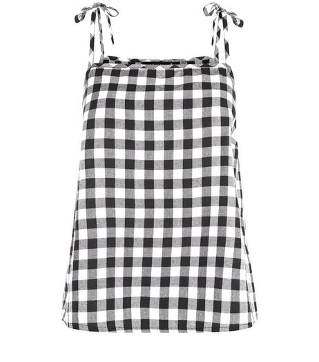 Black Gingham Check Tie Strap Cami | New Look