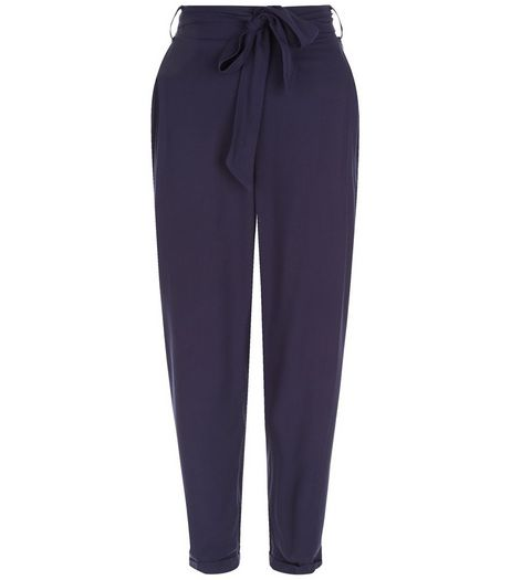 Navy Belted Turn Up Trousers | New Look