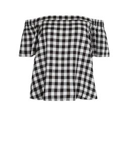 Black Gingham Check Bardot Neck Top  | New Look