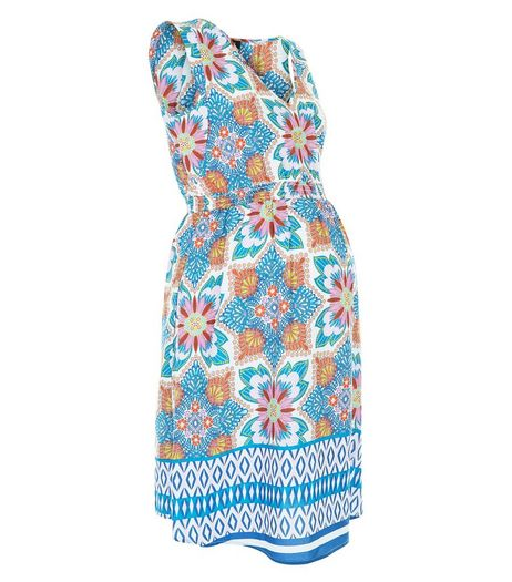 Maternity Blue Tile Print Sleeveless Dress | New Look