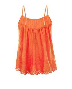 Orange Broderie Trim Cami | New Look