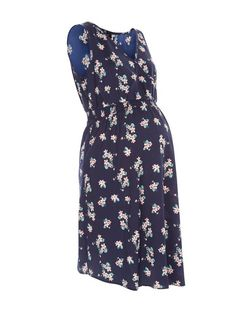 Maternity Blue Floral Print Wrap Sleeveless Dress | New Look