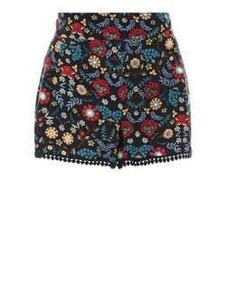 Black Floral Print Pom Pom Trim Shorts | New Look