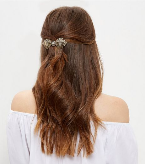 Gold Filigree Lace Bow Hair Clip  | New Look