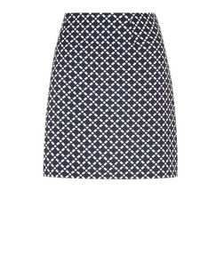 White Tile Jacquard A-Line Skirt  | New Look