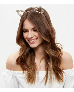 Cream Flower Cat Ears Headband | New Look