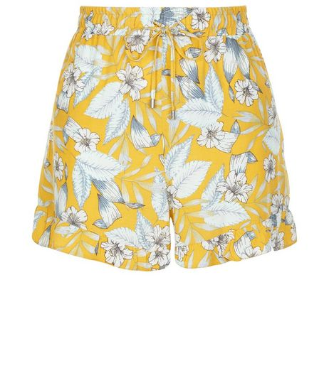 Yellow Floral Print Frill Hem Shorts  | New Look