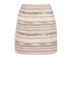 White Jacquard Aztec Stripe A-Line Skirt  | New Look