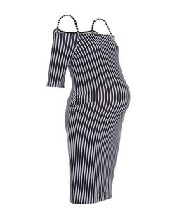 Maternity Blue Stripe Bardot Neck Dress | New Look