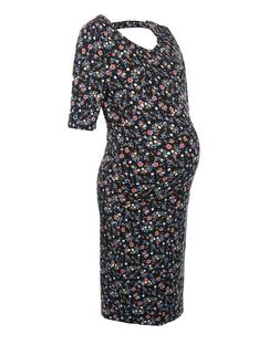 Maternity Blue Floral Print Bar Back Dress | New Look