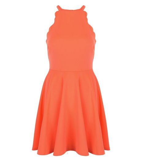 Coral Scuba Scallop Trim Skater Dress  | New Look
