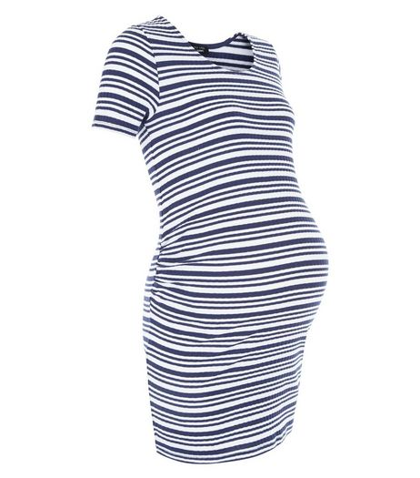Maternity Blue Stripe Ribbed Tunic | New Look
