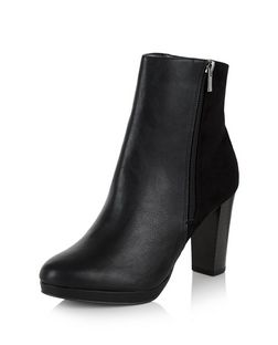 Black Suedette Panel Block Heel Ankle Boots  | New Look