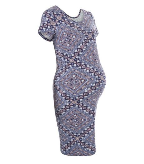 Maternity Blue Abstract Print Short Sleeve Dress | New Look