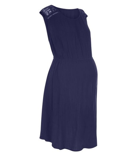 Maternity Navy Crochet Panel Dress | New Look