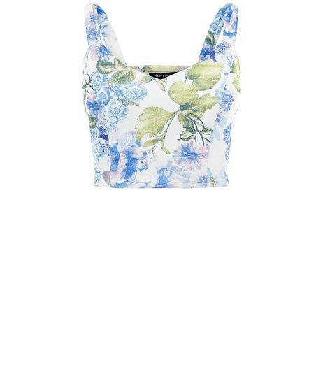 White Floral Print Cupped Bralet  | New Look