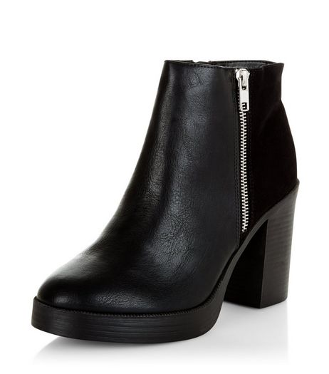 Black Chunky Block Heel Ankle Boots  | New Look