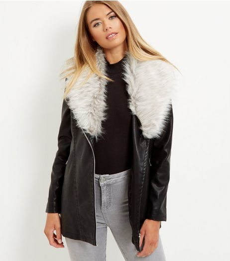 Black Leather-Look Faux Fur Collar Longline Biker Jacket  | New Look