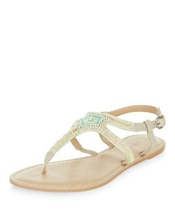 Light Green Leather Beaded Sandals  | New Look