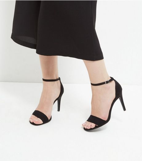 Black Suedette Ankle Strap Heeled Sandals  | New Look