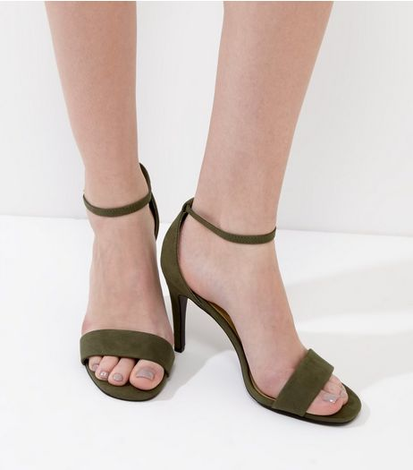 Dark Green Suedette Ankle Strap Heeled Sandals | New Look