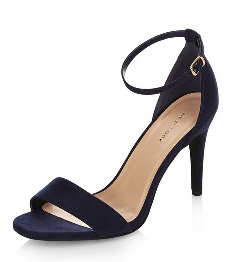 Navy Suedette Ankle Strap Heeled Sandals | New Look