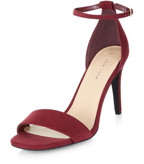 Dark Red Suedette Ankle Strap Heeled Sandals | New Look