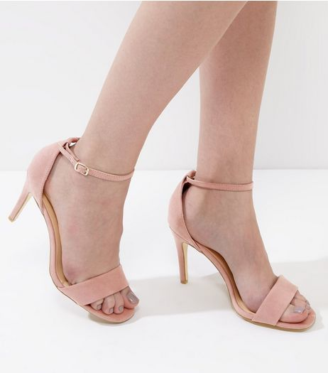 Light Pink Suedette Ankle Strap Heeled Sandals | New Look