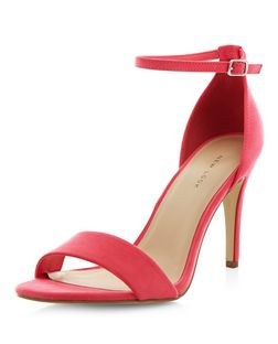 Bright Pink Suedette Ankle Strap Heeled Sandals | New Look