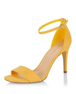 Yellow Suedette Ankle Strap Heeled Sandals  | New Look