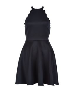 Black Scallop Trim Skater Dress  | New Look