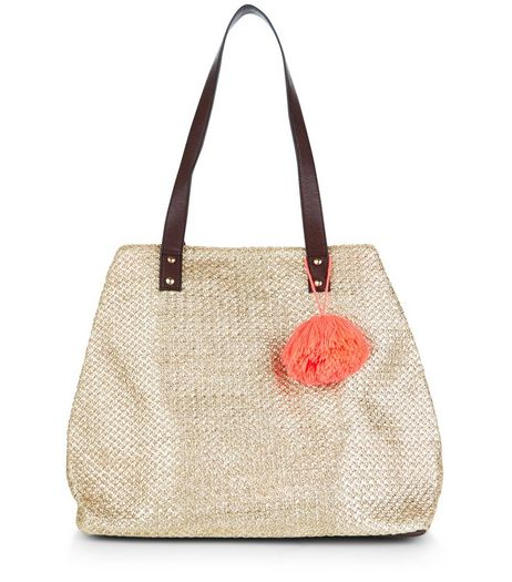Gold Metallic Straw Pom Pom Trim Tote Bag  | New Look