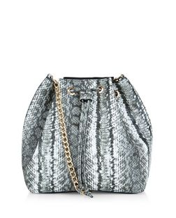 Black Snakeskin Print Chain Strap Duffle Bag | New Look