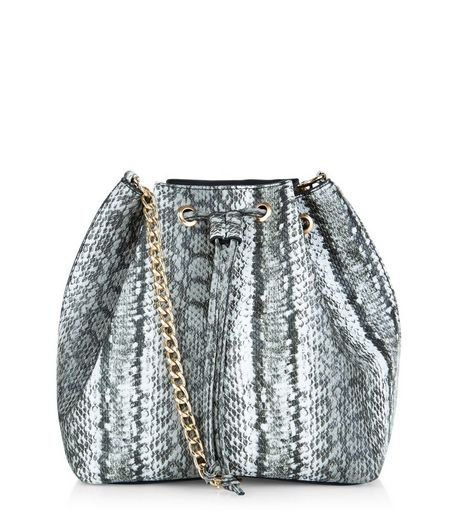 Black Snakeskin Texture Chain Strap Duffle Bag | New Look