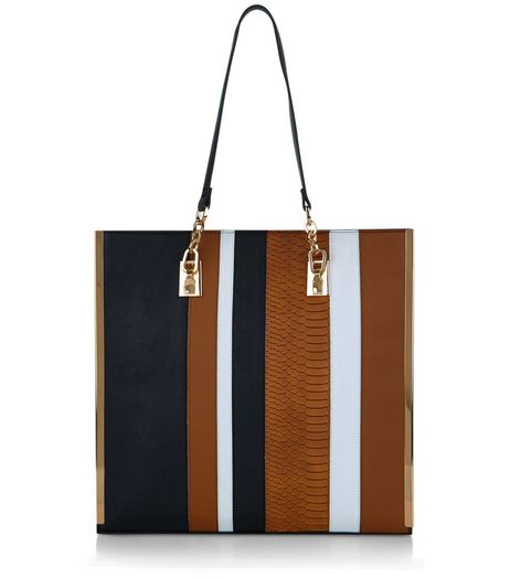 Black Contrast Stripe Shopper Bag  | New Look